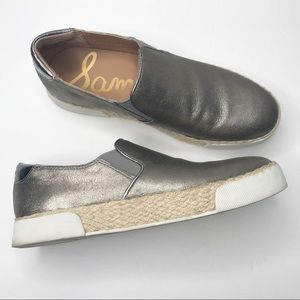 Sam Edelman Banks metallic slip on loafers size 8